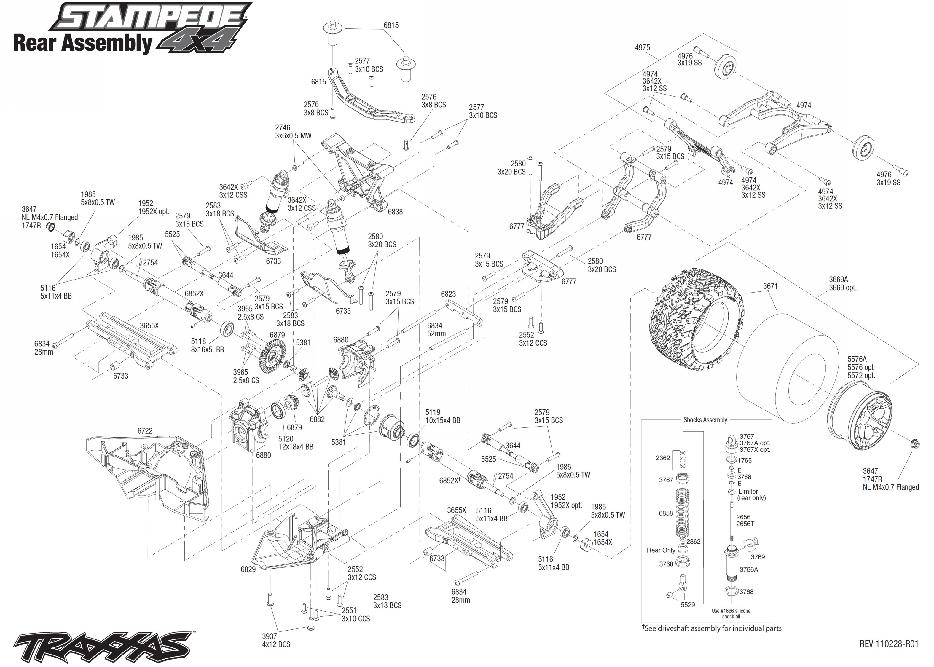 exploded view traxxas stampede vxl 1 10 rear part astra rh astramodel cz