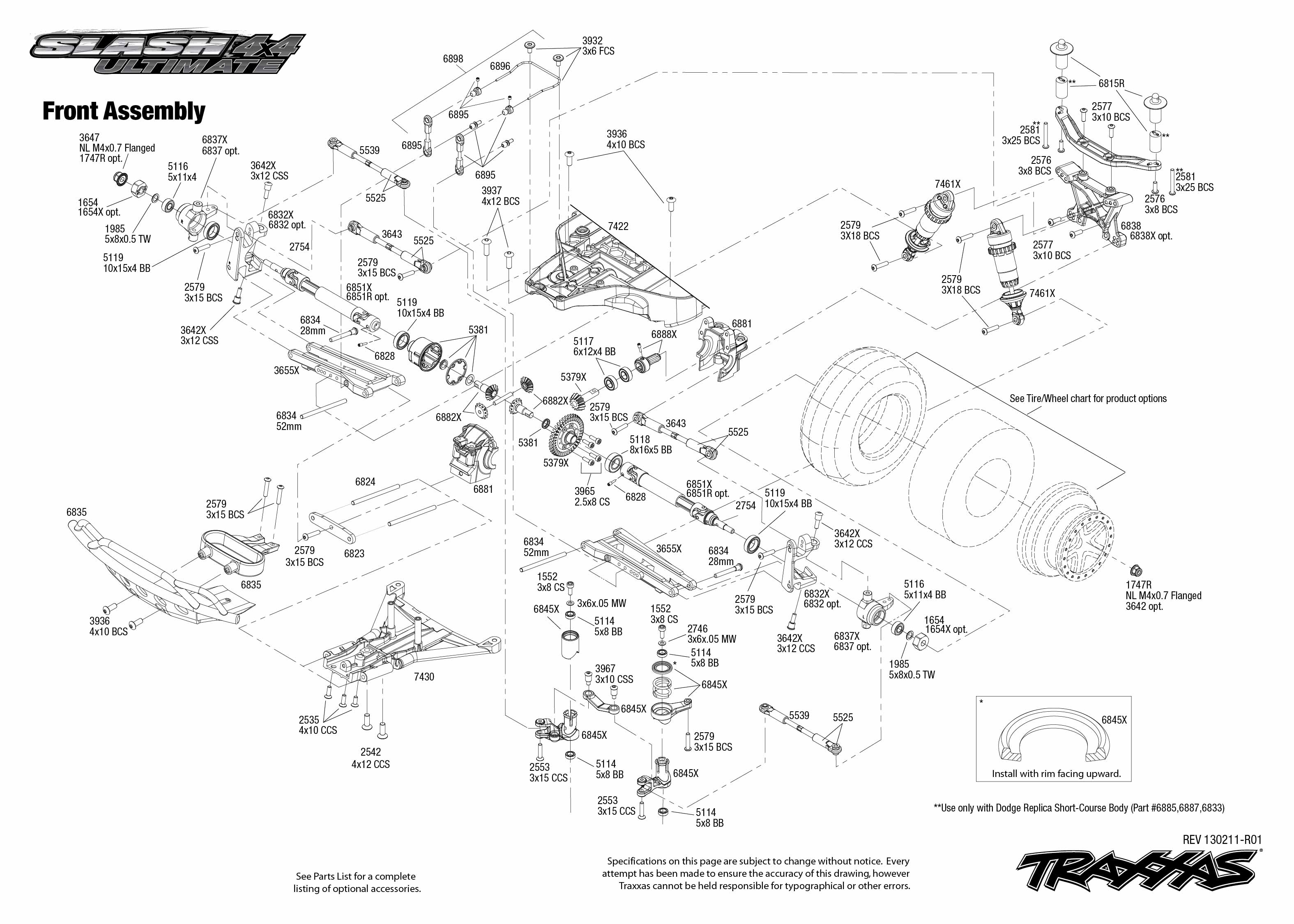 Exploded view: Traxxas Slash Ultimate 1:10 4WD VXL LCG TQi