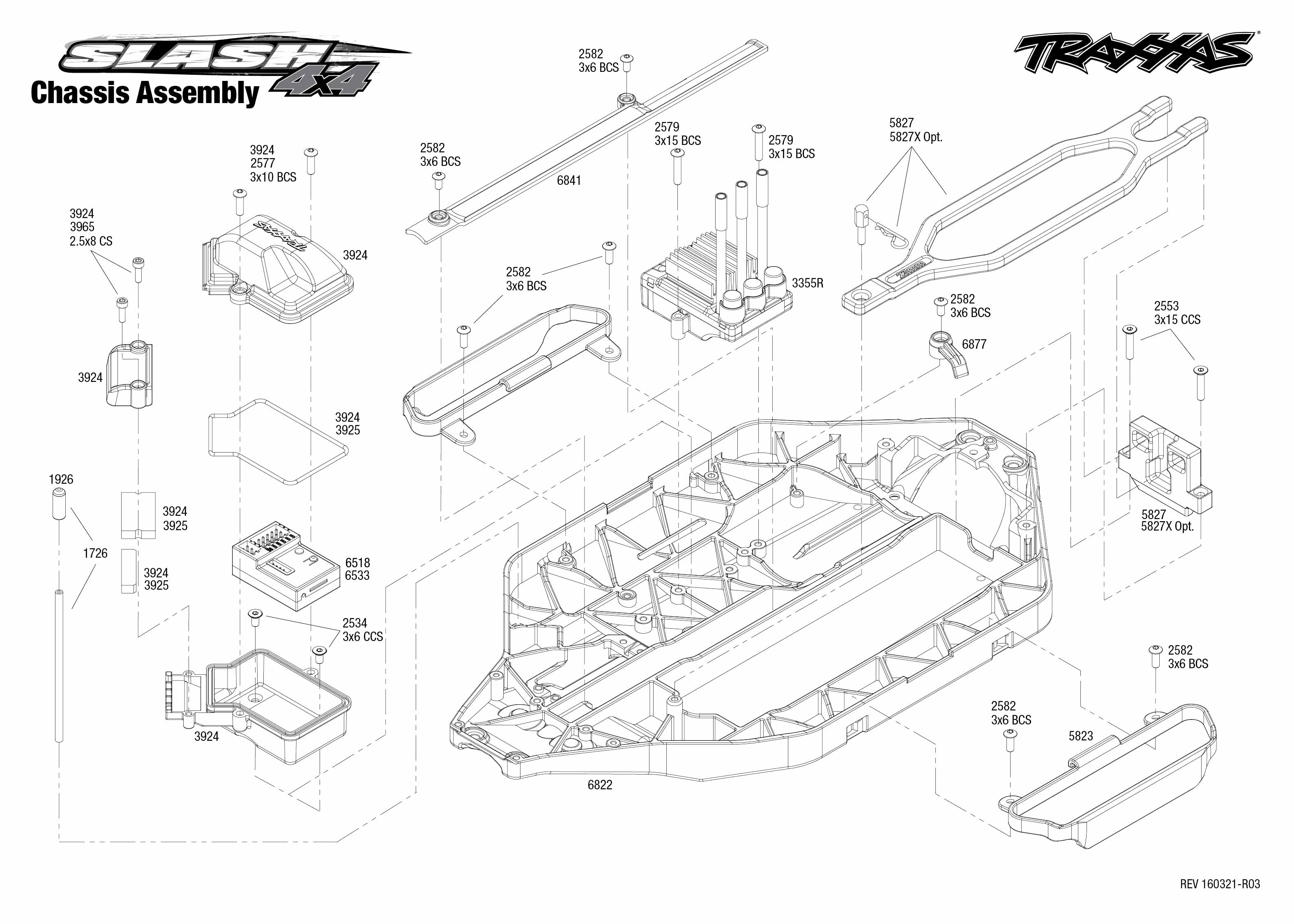 exploded view  traxxas slash 4wd 1 10