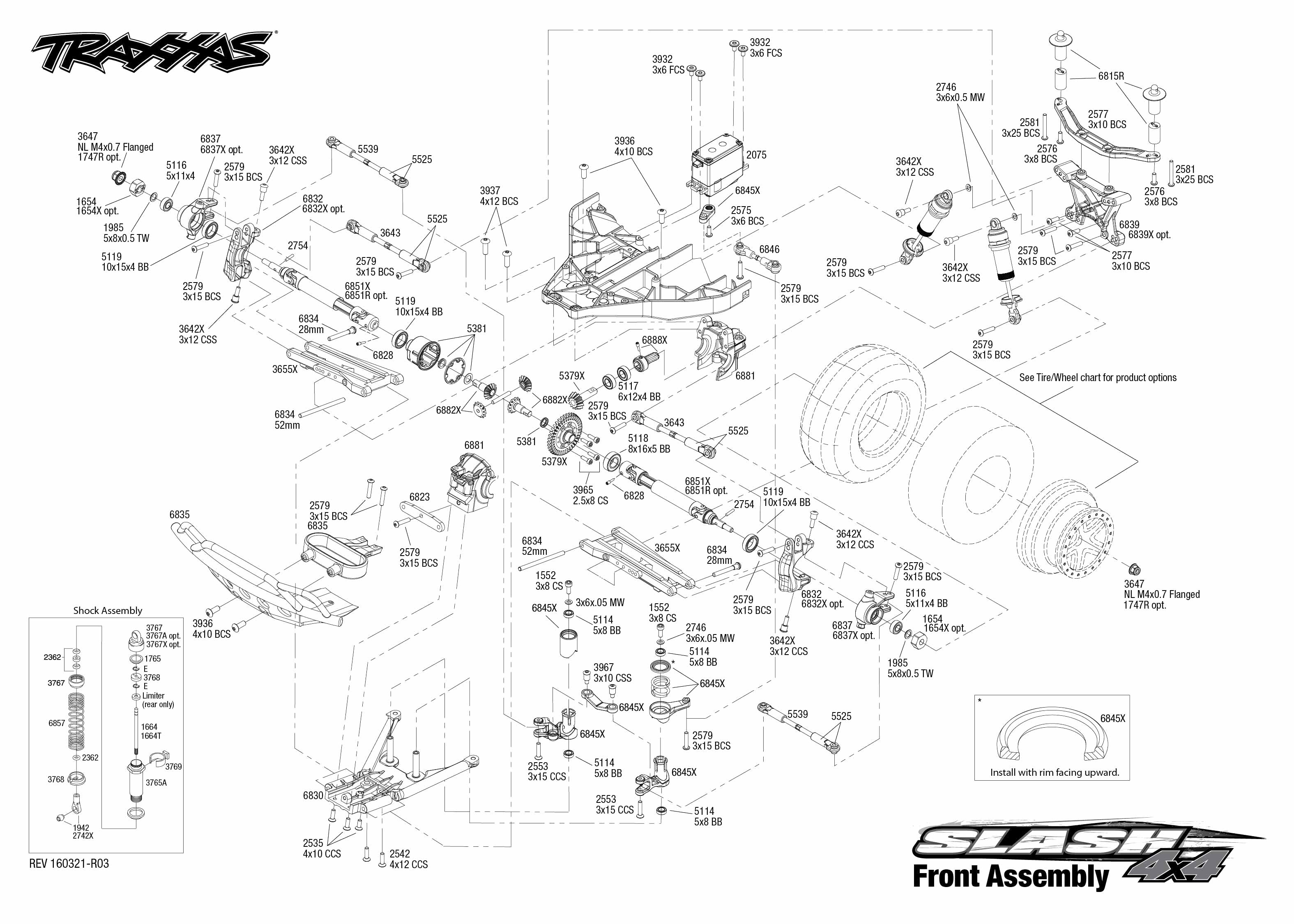 Exploded view: Traxxas Slash 4WD 1:10 - Front part | Astra