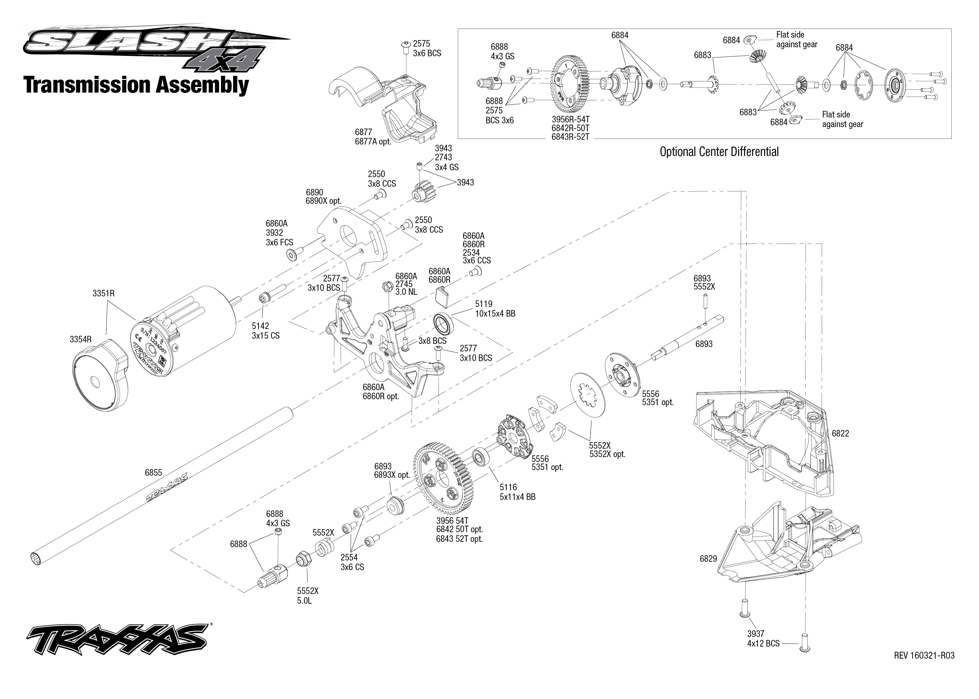 Exploded view: Traxxas Slash 4WD 1:10 - Transmission | Astra