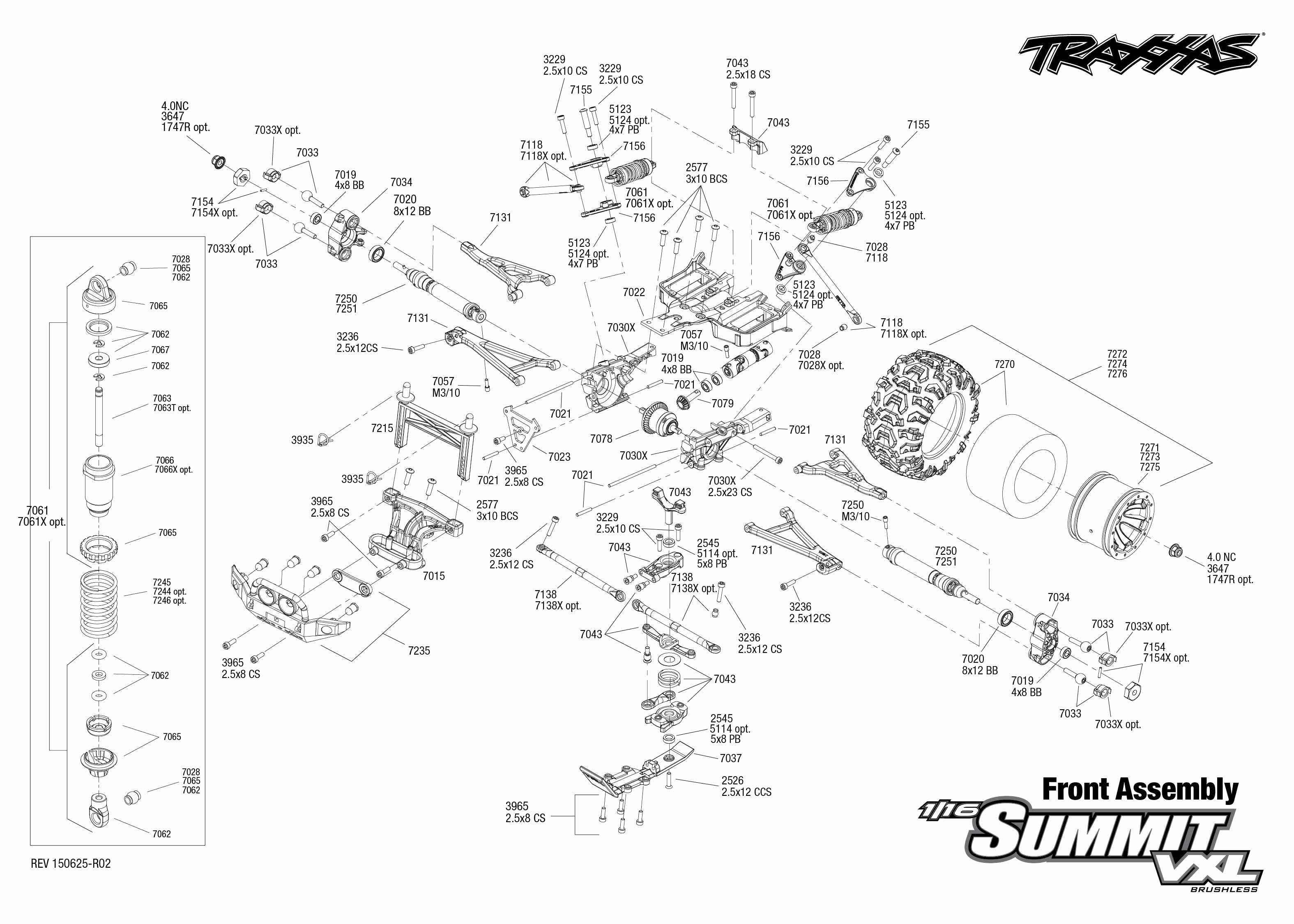 exploded view  traxxas summit 1 16 vxl