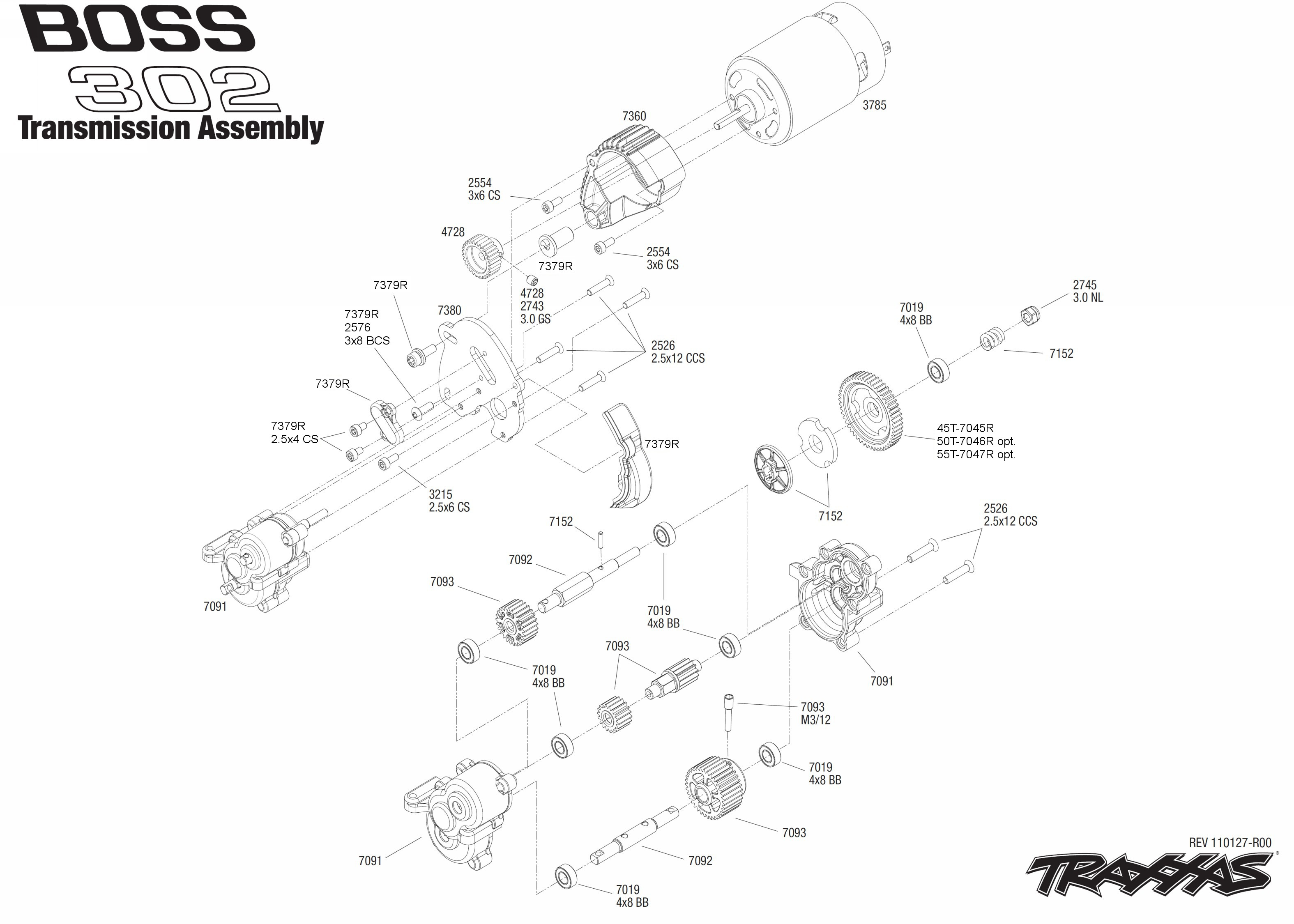exploded view traxxas mustang boss 302 1 16 transmission astra rh astramodel cz 1967 Mustang Boss 302 RC Mustang Boss 302