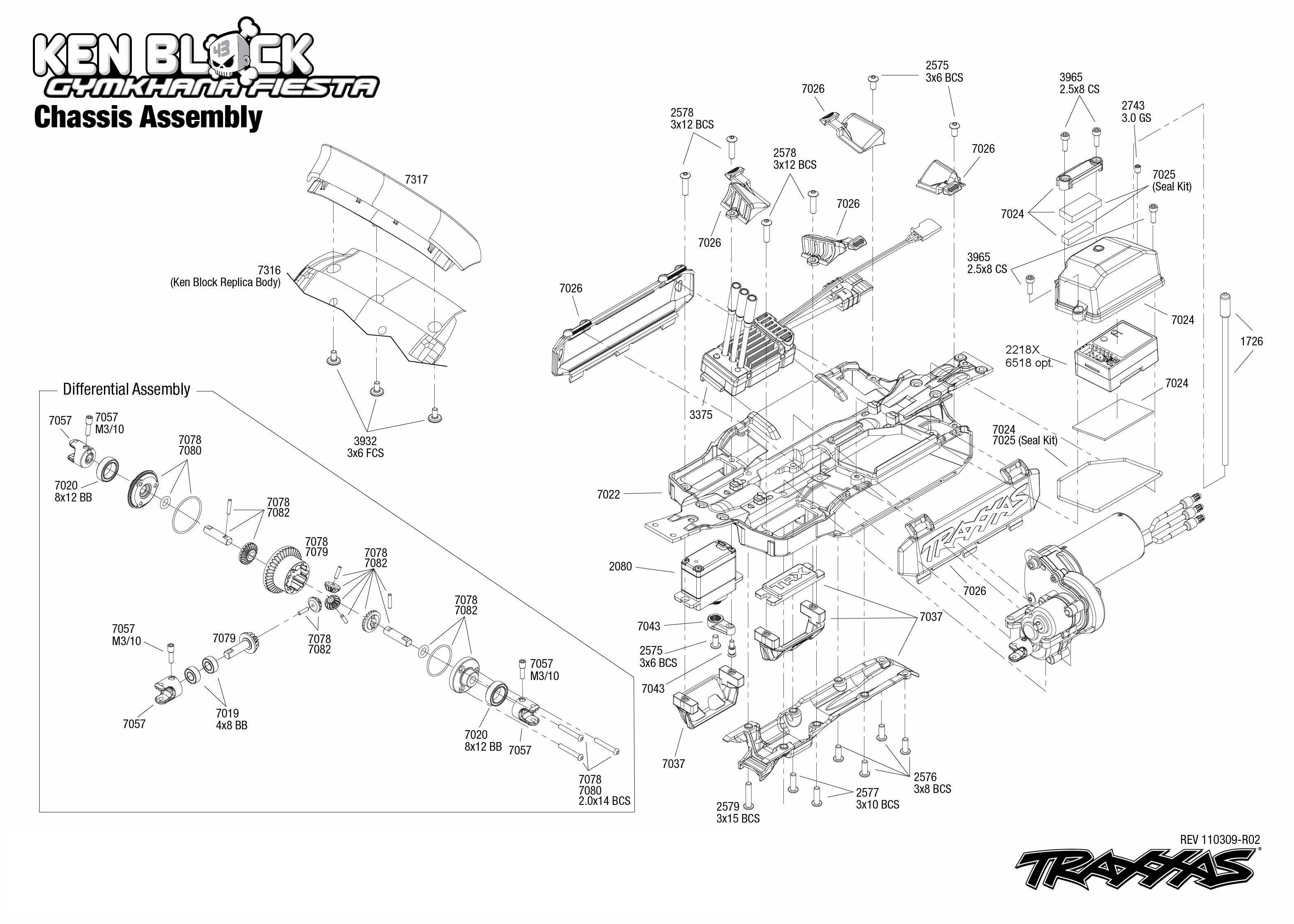 Exploded view: Traxxas Ford Fiesta Ken Block 1:16 VXL
