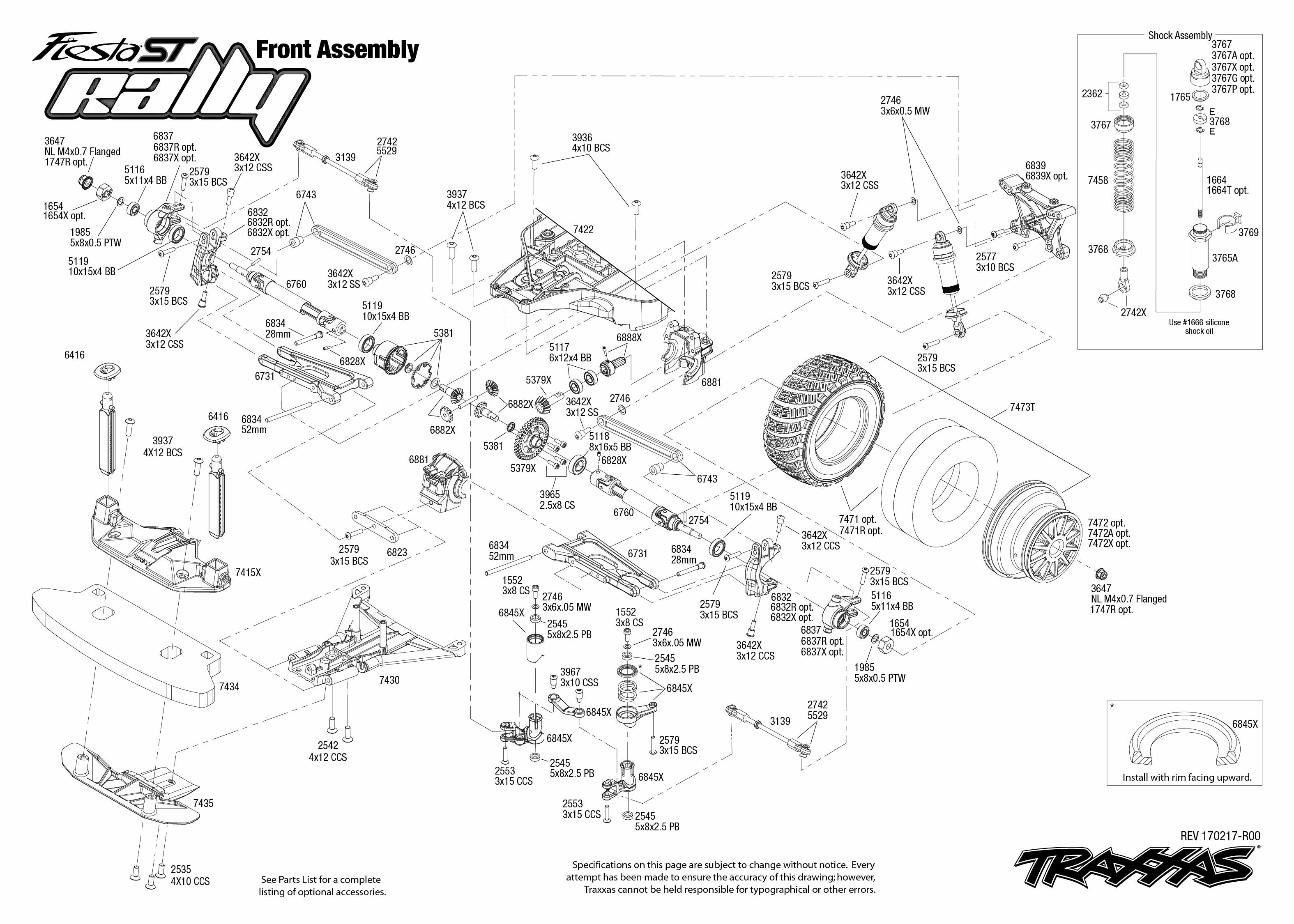 exploded view  traxxas ford fiesta st rally 1 10