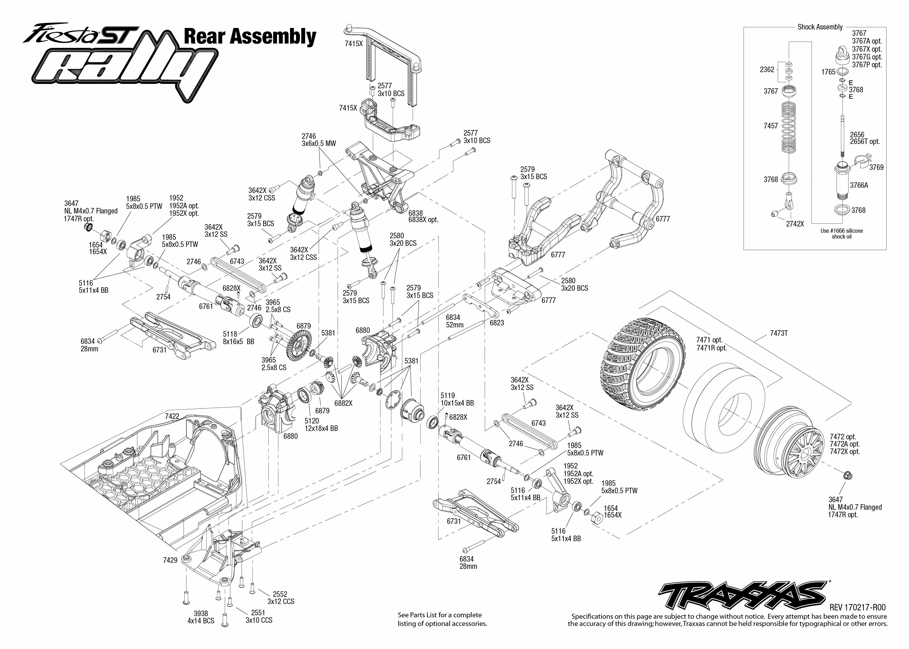 Exploded View Traxxas Ford Fiesta St Rally 1 10 Rear Part Astra