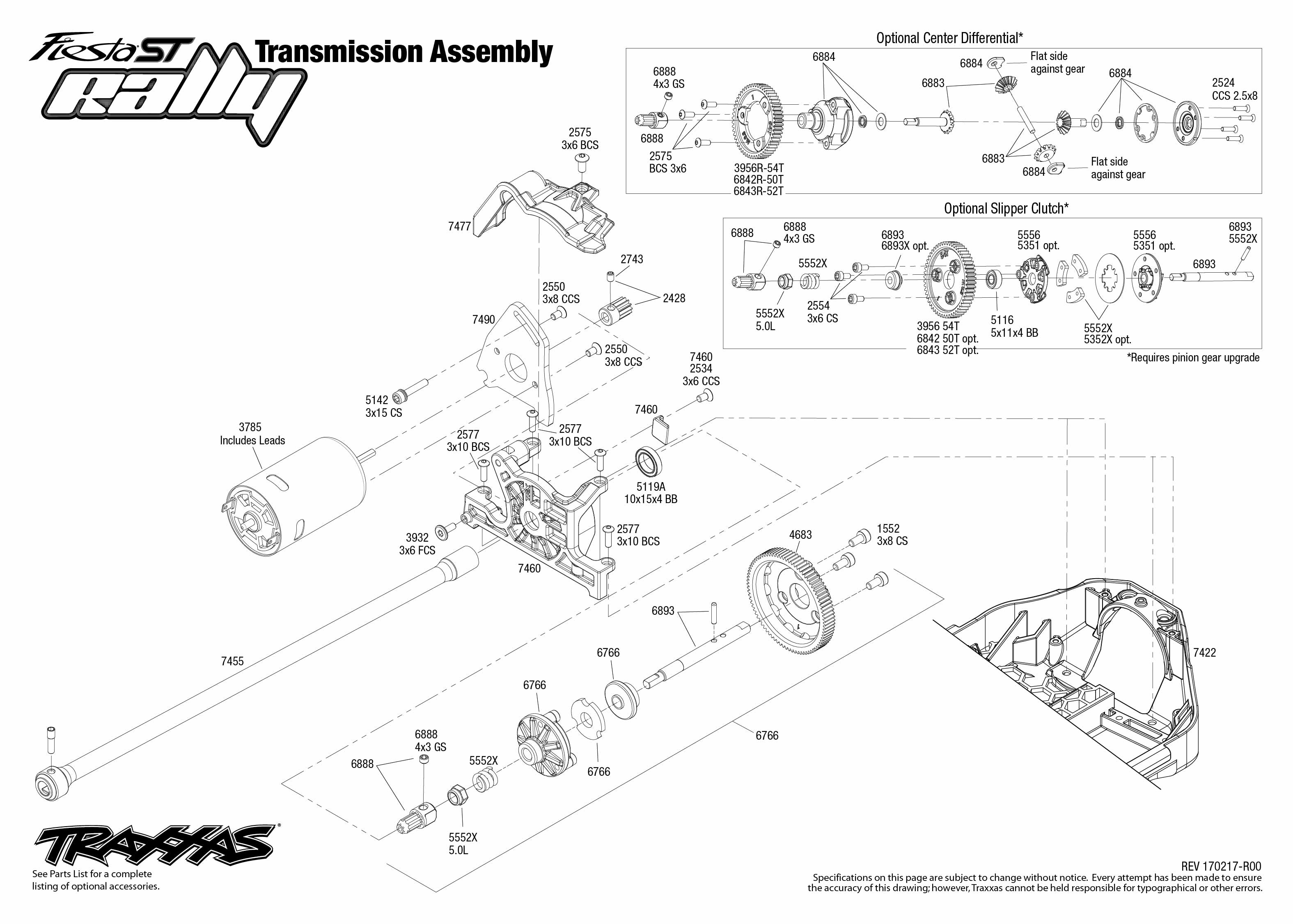 Exploded View Traxxas Ford Fiesta St Rally 1 10 Transmission Astra