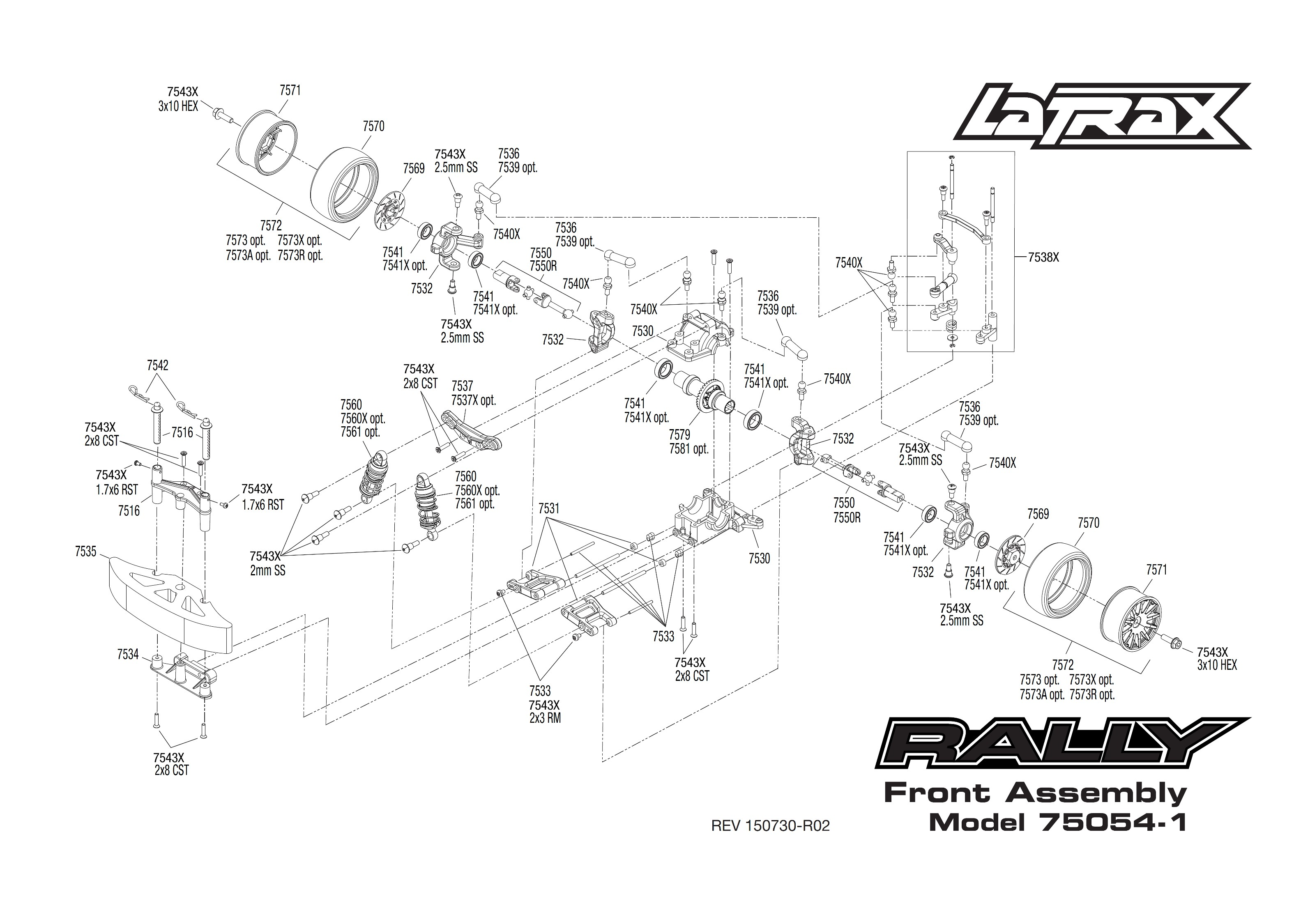 exploded view  traxxas latrax rally 1 18