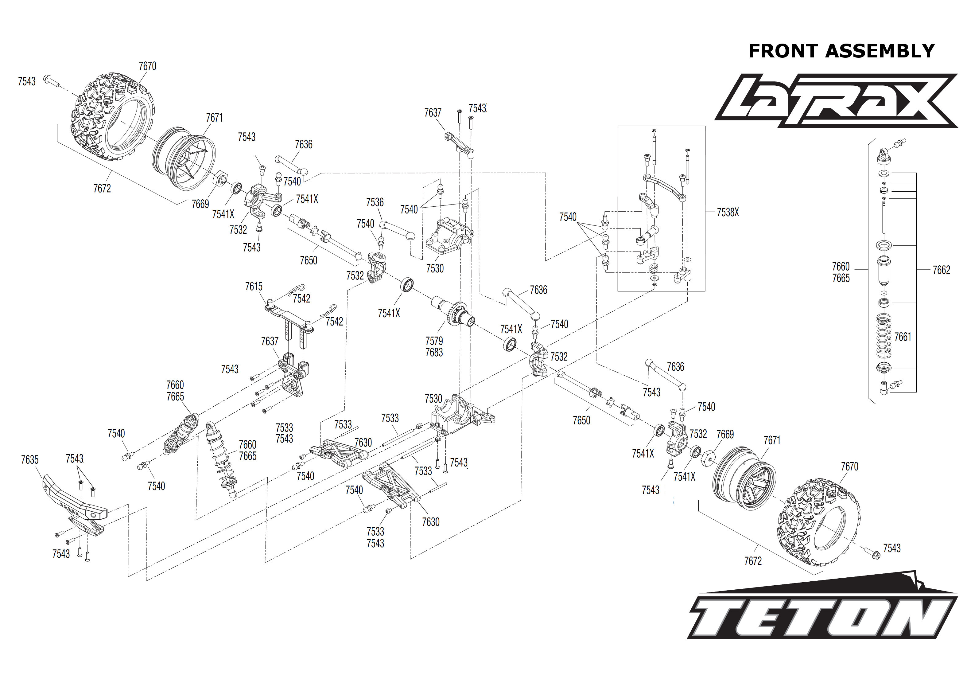 Exploded view Traxxas LaTrax Teton 1 18 Front part