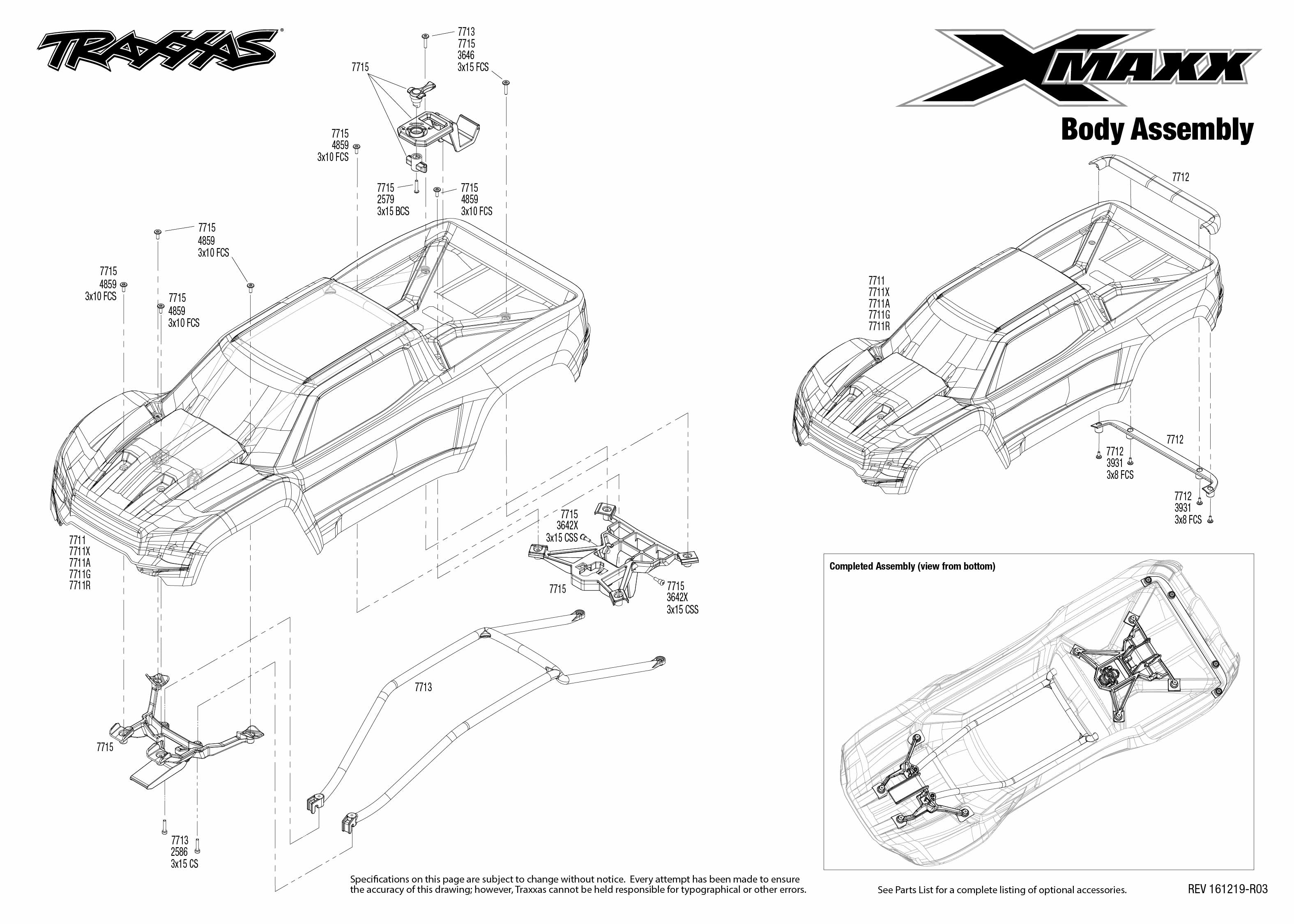 Exploded view: Traxxas X-Maxx 1:5 8S 4WD TQi Brushless TSM