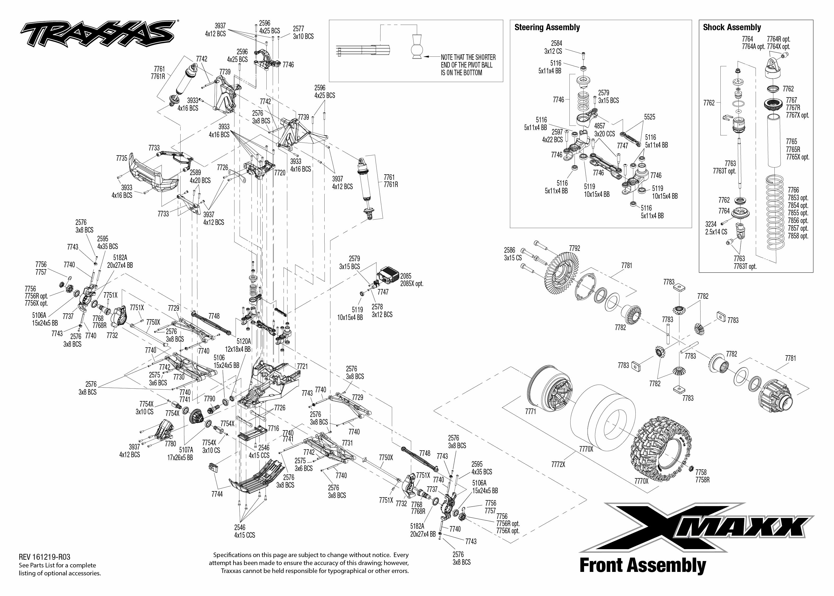 exploded view  traxxas x-maxx 1 5 8s 4wd tqi brushless tsm rtr