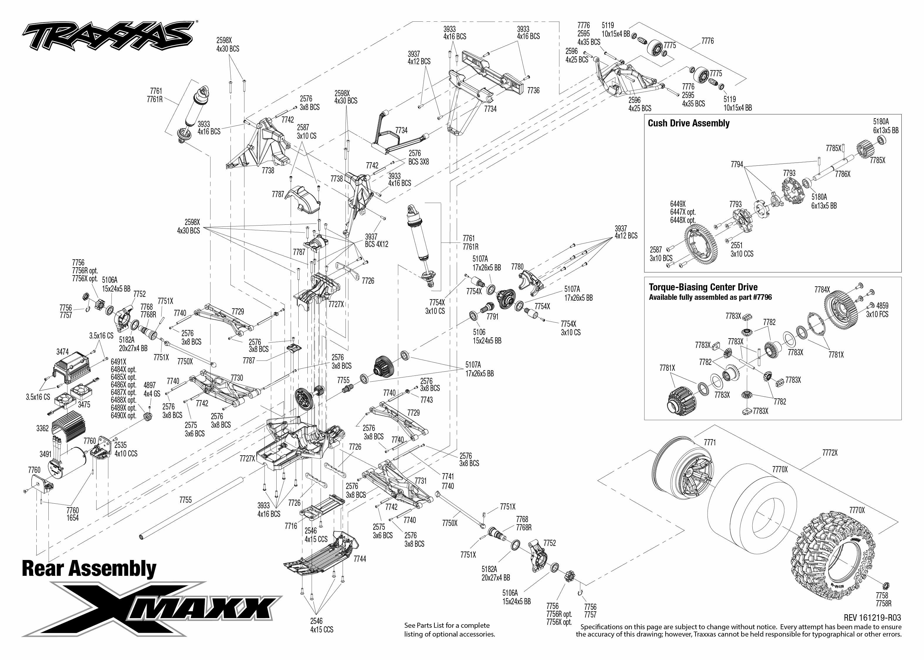 Exploded view: Traxxas X-Maxx 1:5 8S 4WD TQi Brushless TSM
