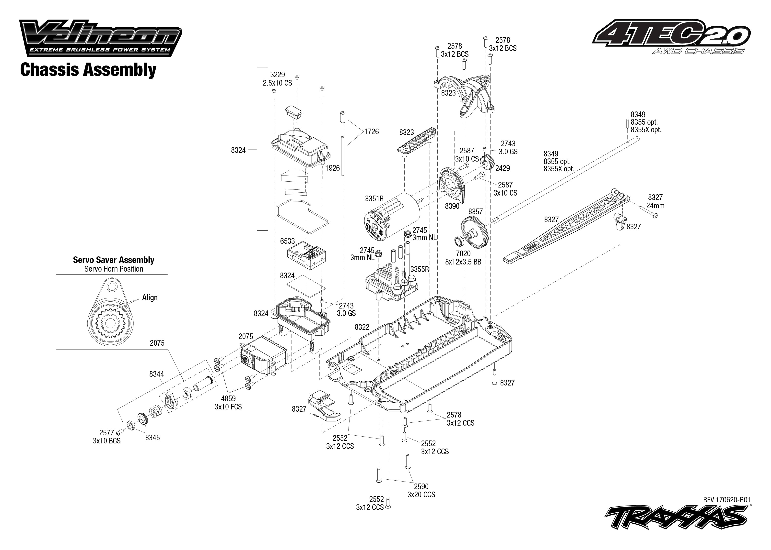 Exploded view Traxxas 4 Tec 2 0 VXL Chassis