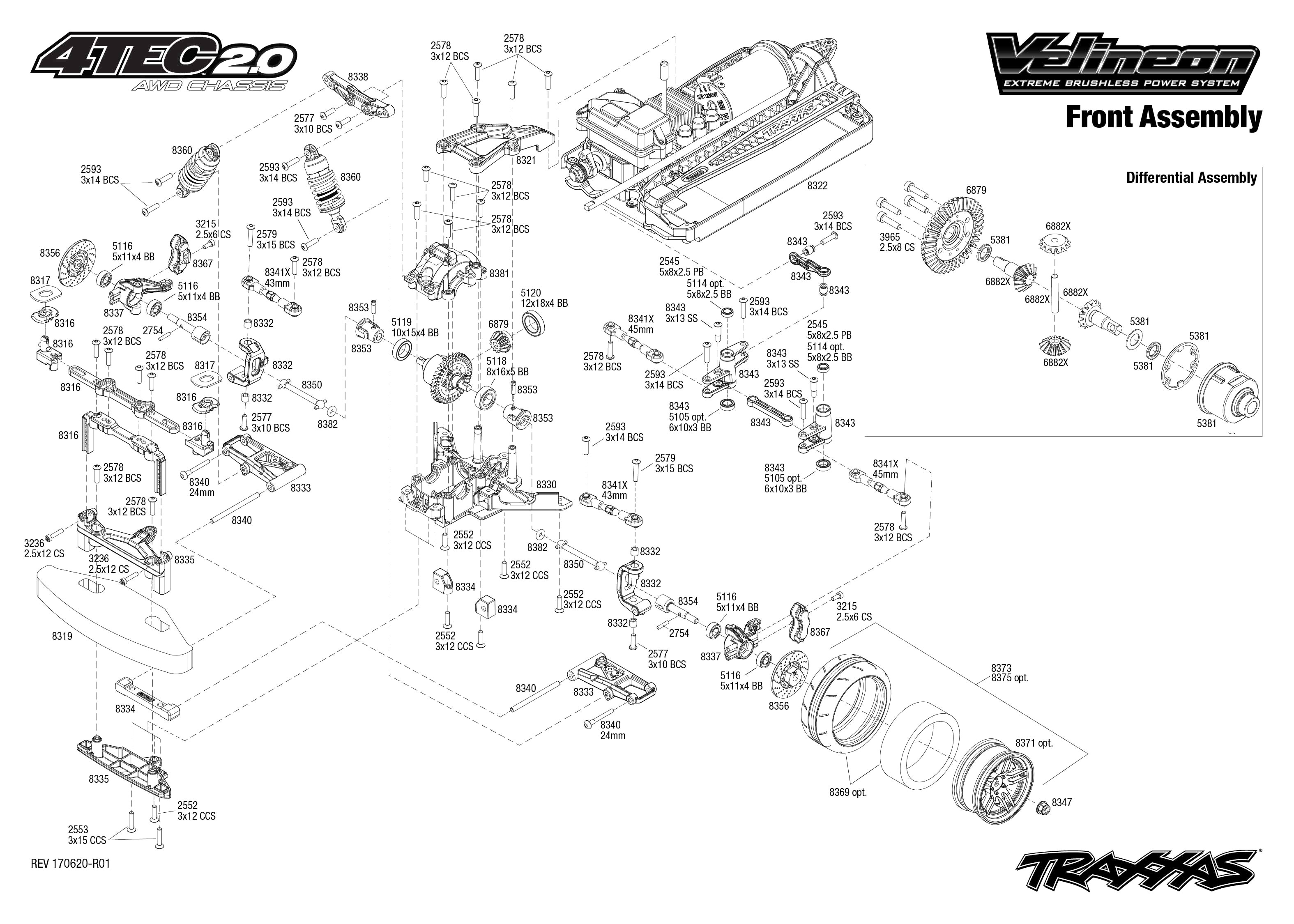 Exploded view Traxxas 4 Tec 2 0 VXL Front part