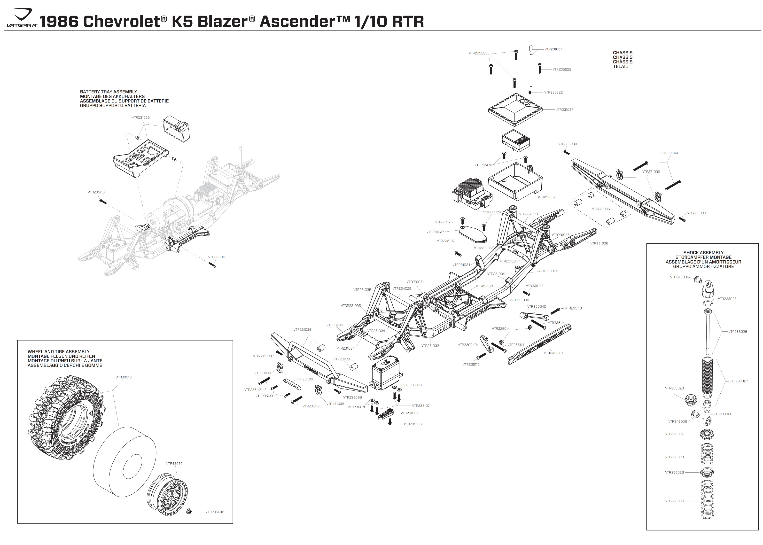 Exploded View Vaterra Chevrolet K 5 Blazer Ascender 110 4wd Rtr Diagram Of A Battery Chassis