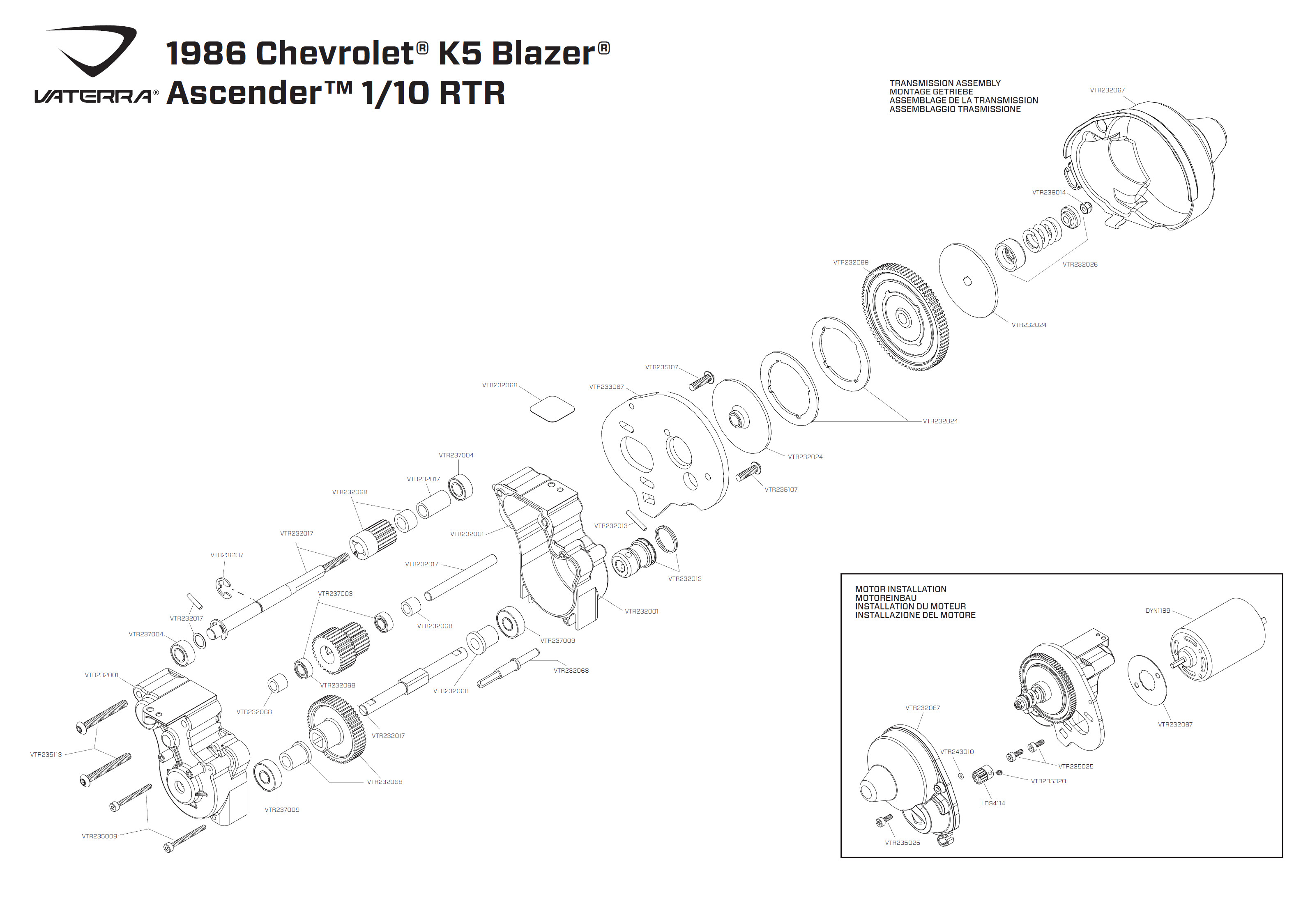 Exploded View Vaterra Chevrolet K 5 Blazer Ascender 110 4wd Rtr 1986 Chevy Transmission Wiring Diagram