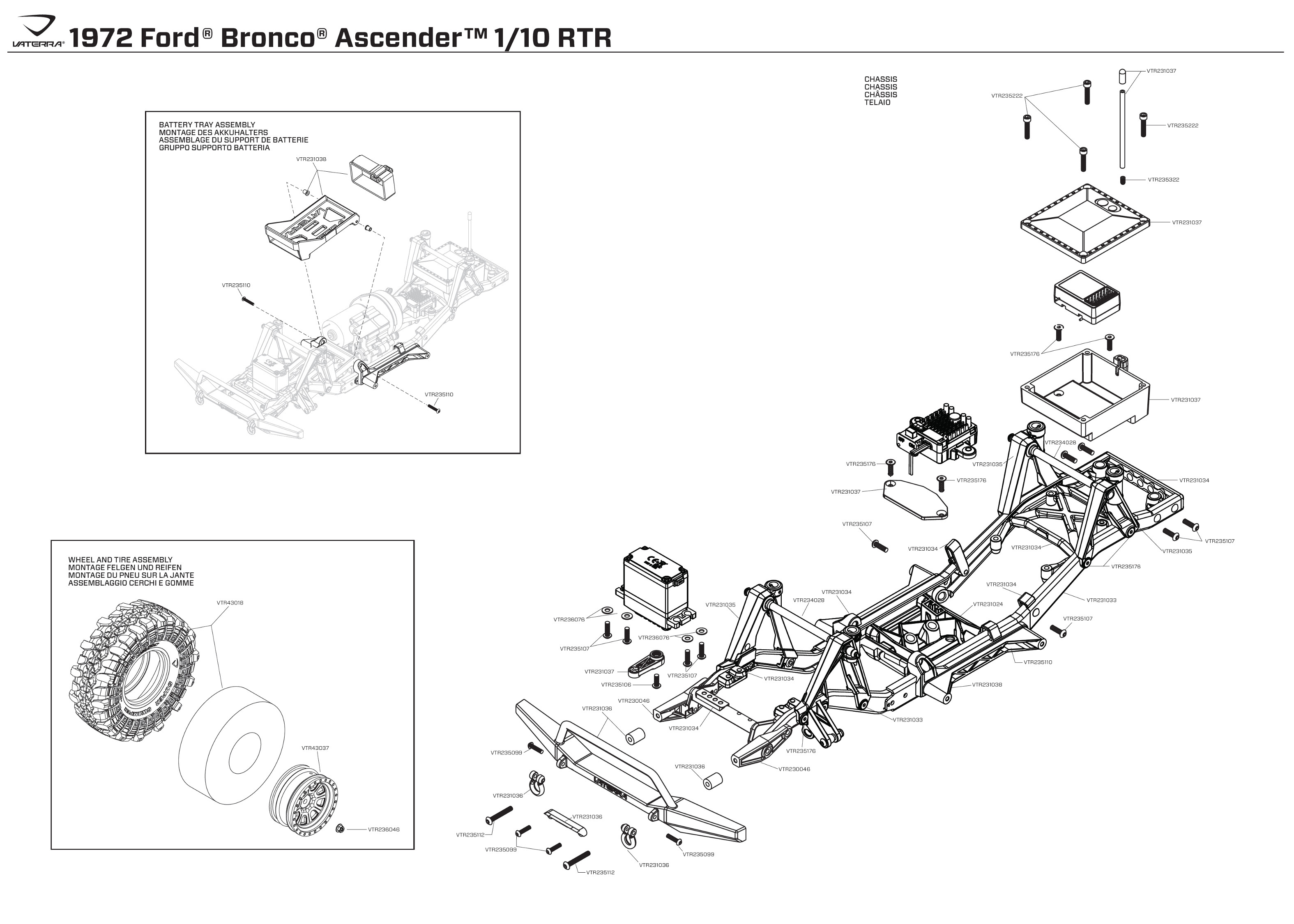 Exploded view: Vaterra Ford Bronco 1972 1:10 4WD Ascender