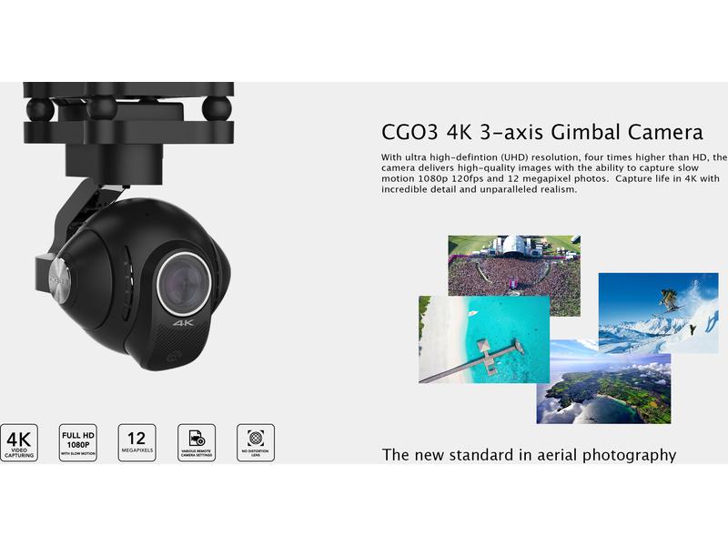 YUNEEC Q500 4K TYPHOON s kamerou C-GO3-4K RTF s CGO, SteadyGrip a trolly kufrem