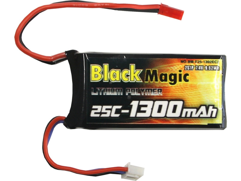 Black Magic LiPol 7.4V 1300mAh 25C JST