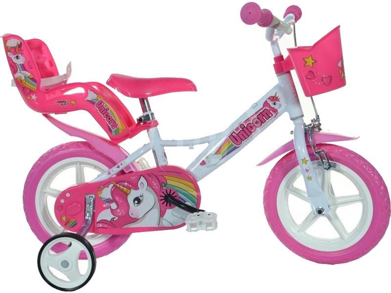 """DINO Bikes - Dětské kolo 12"""" Jednorožec se sedačkou"""