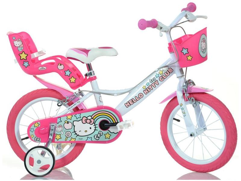 """DINO Bikes - Dětské kolo 14"""" Hello Kitty2 se sedačkou"""