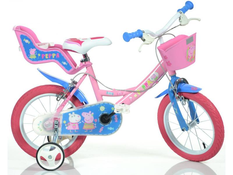 """DINO Bikes - Dětské kolo 14"""" Pepa Pig se sedačkou a košíkem"""