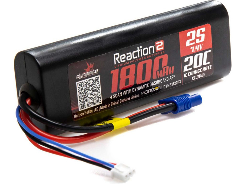 Dynamite LiPo Reaction2 Car 7.4V 1800mAh 20C EC3