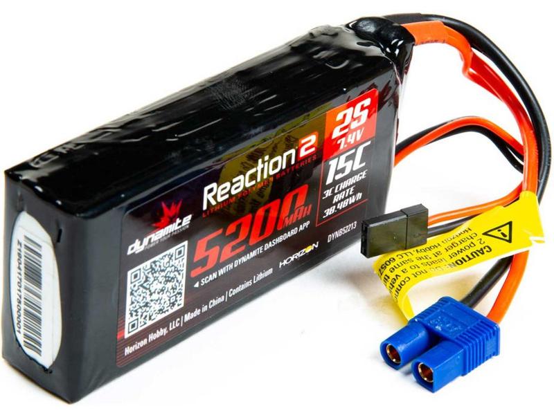 Dynamite LiPo Reaction2 7.4V 5200mAh 2S 15C Rx