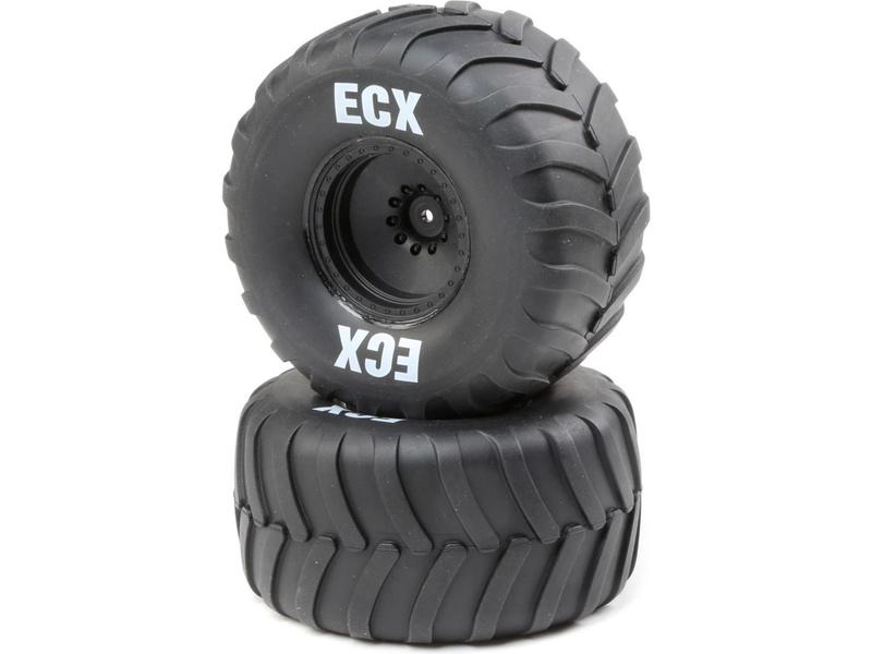 ECX kolo s pneu, černý disk (2): Amp Crush