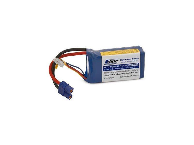 E-flite LiPo 11.1V 1300mAh 20C EC3