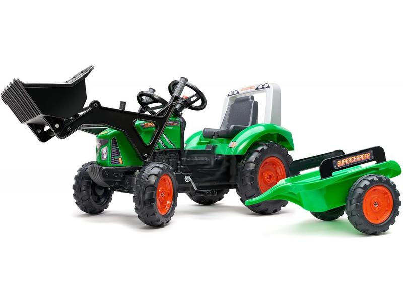 FALK - Šlapací traktor Supercharger s nakladačem a vlečkou zelený