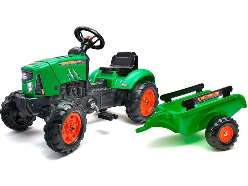 FALK - Šlapací traktor SuperCharger s vlečkou zelený