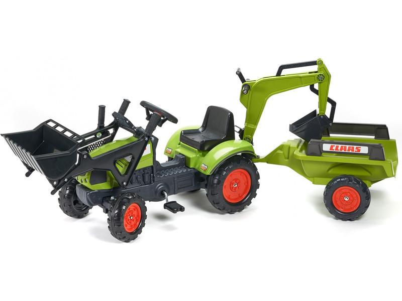 FALK - Šlapací traktor Claas Arion 410 s nakladačem, rypadlem a vlečkou
