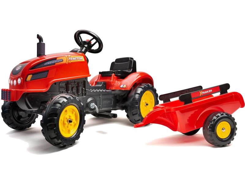 FALK - Šlapací traktor X-Tractor s vlečkou červený