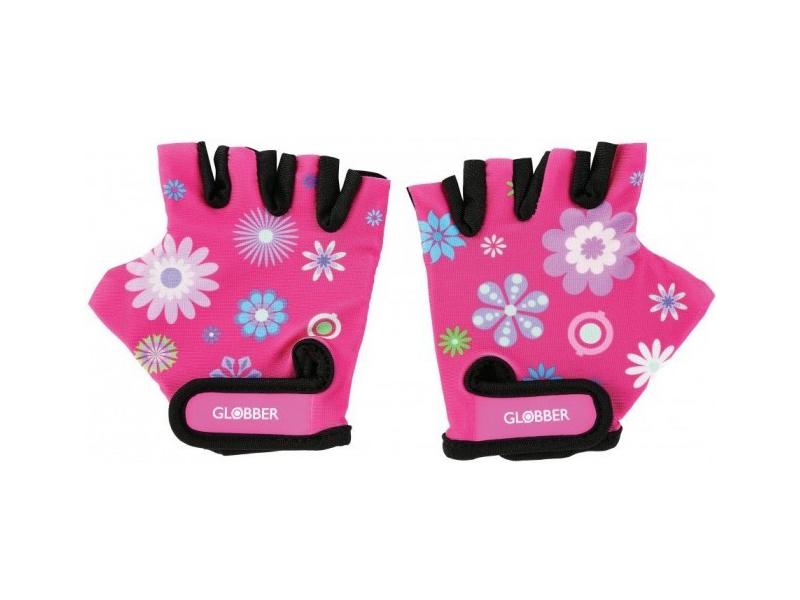 Globber - Dětské ochranné rukavičky XS Flowers Pink