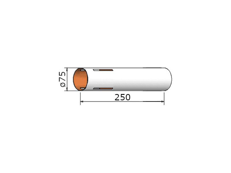 Klima papírová trubka 75x250 mm, 4 drážky
