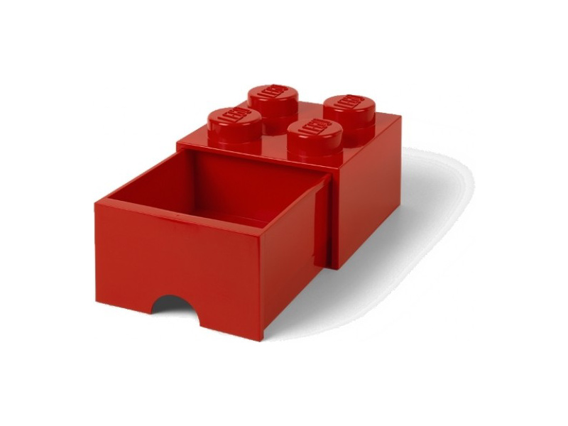 LEGO úložný box s šuplíkem 250x250x180mm - červený