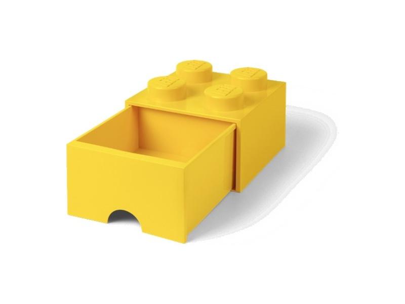 LEGO úložný box s šuplíkem 250x250x180mm - žlutý