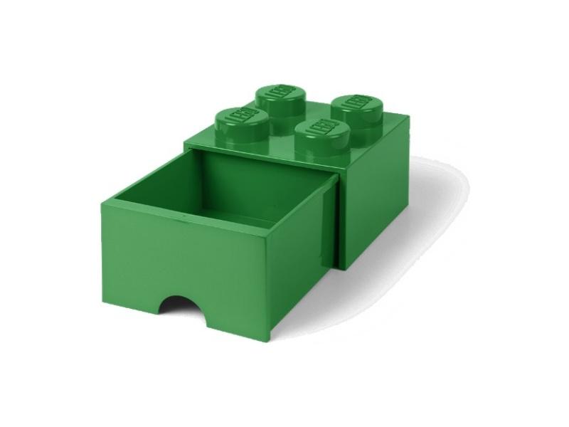 LEGO úložný box s šuplíkem 250x250x180mm - tmavě zelený
