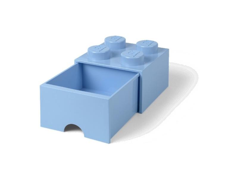 LEGO úložný box s šuplíkem 250x250x180mm - světle modrý