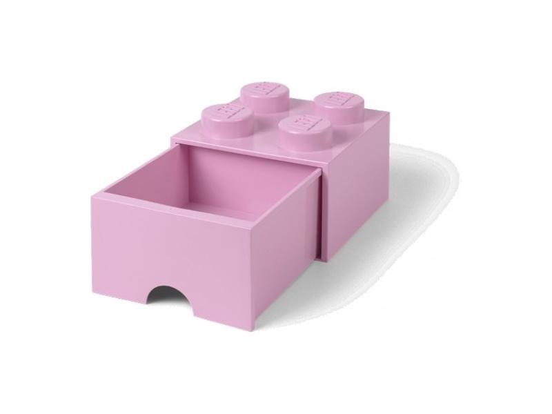 LEGO úložný box s šuplíkem 250x250x180mm - světle růžový