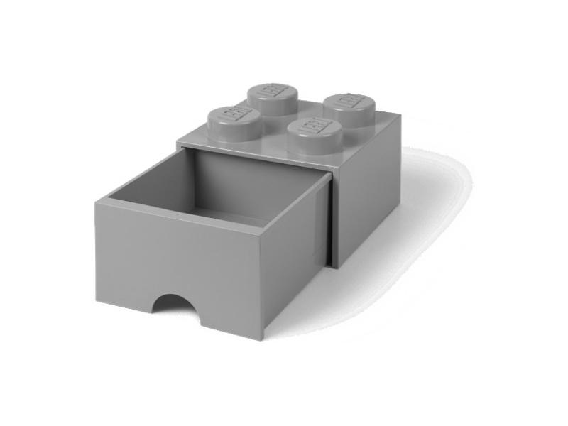 LEGO úložný box s šuplíkem 250x250x180mm - šedý