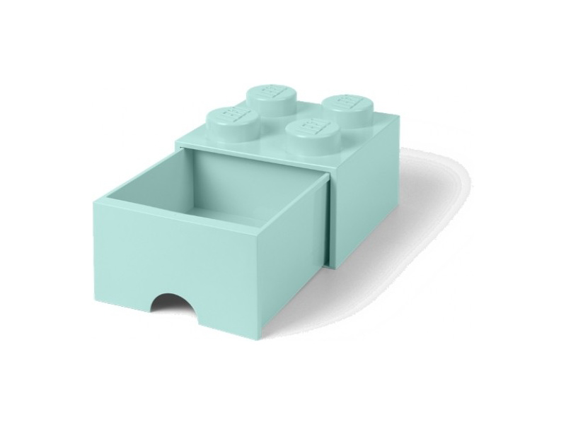 LEGO úložný box s šuplíkem 250x250x180mm - aqua