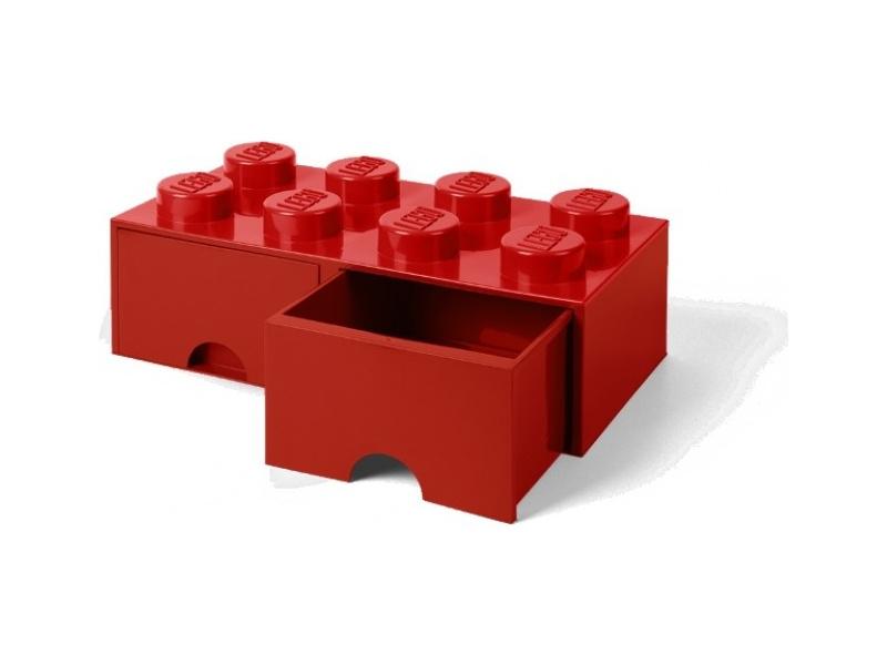 LEGO úložný box s šuplíky 250x500x180mm - červený