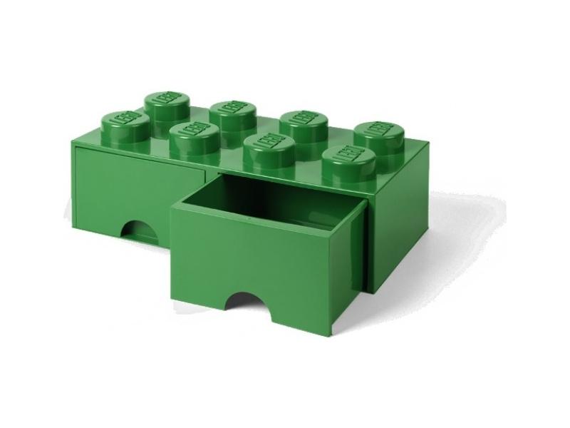 LEGO úložný box s šuplíky 250x500x180mm - tmavě zelený