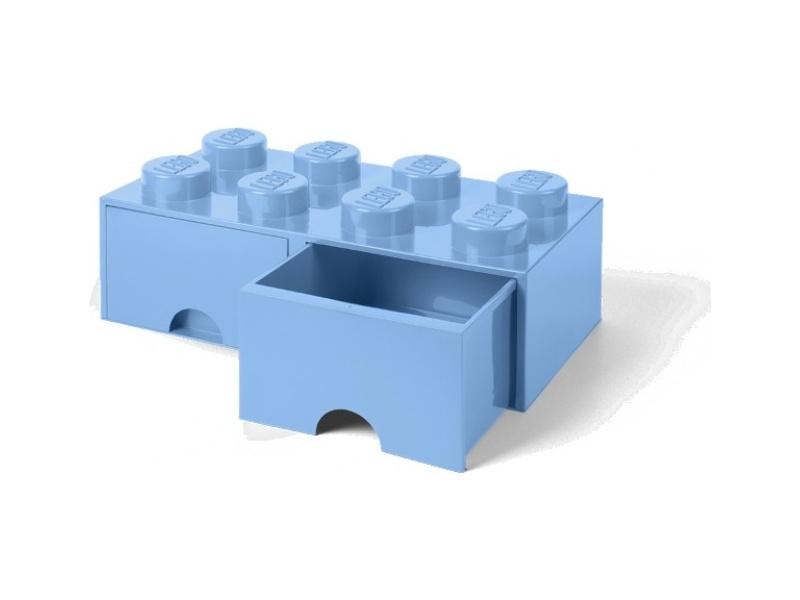 LEGO úložný box s šuplíky 250x500x180mm - světle modrý