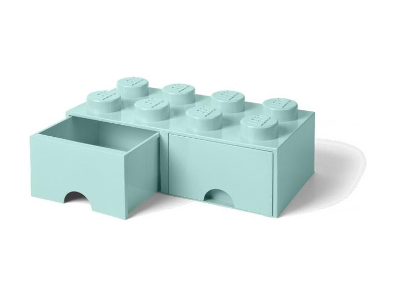 LEGO úložný box s šuplíky 250x500x180mm - aqua