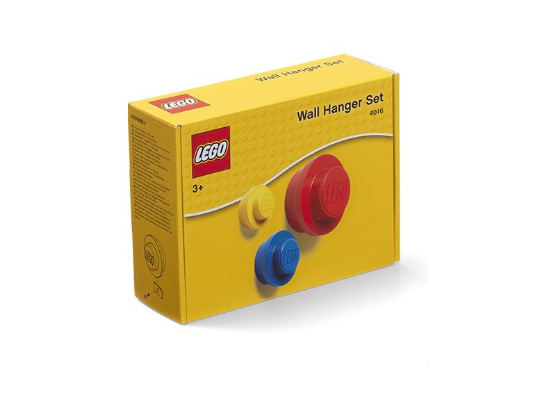 LEGO věšák na zeď (3 ks) - žlutá, modrá, červená