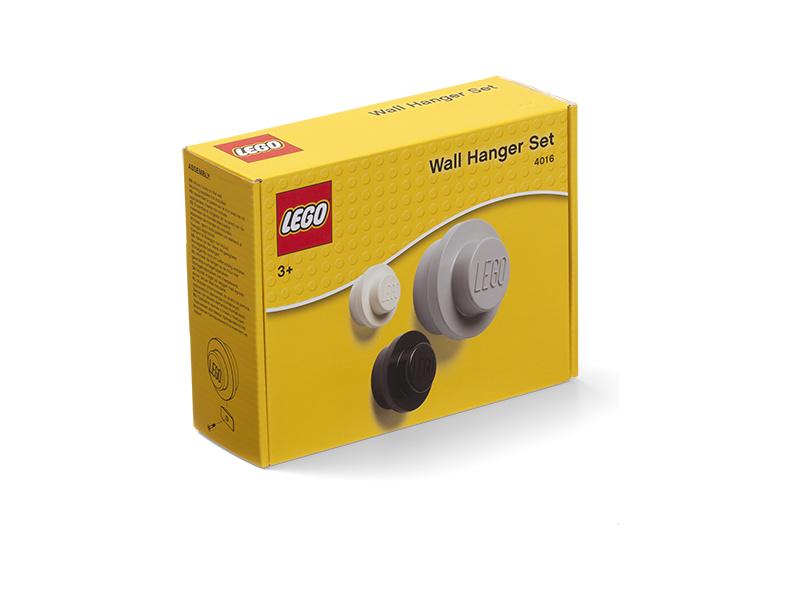 LEGO věšák na zeď (3 ks) - bílá, černá, šedá