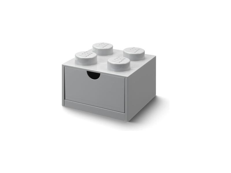 LEGO stolní box 4 se zásuvkou šedý